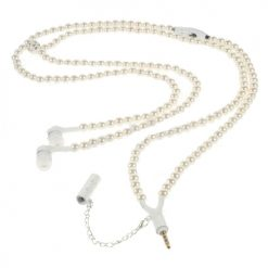 3.5mm Necklace Headphone With Mic In White Pearl Design