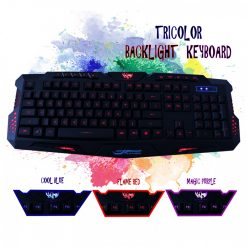 Multimedia Usb 114 Keys Tri Color Backlight Gaming Keyboard - Black