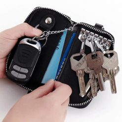6 Hook Key Holder Leather Wallet - Black
