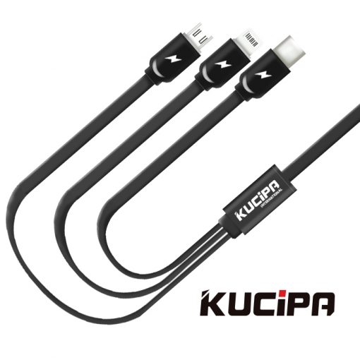 Kucipa 3 in 1 Platinum Data Transfer and Charging Flat Cable - Black