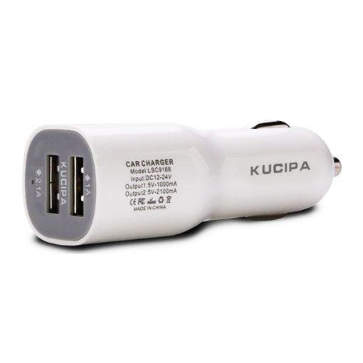 Kucipa Dual USB Ports 2.1A Car Charger Adapter - White