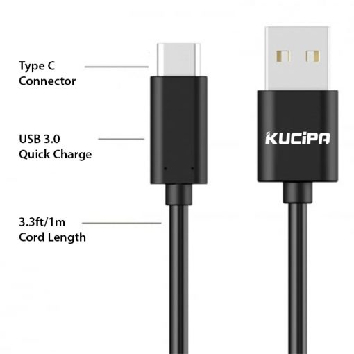 Kucipa Type-C High Speed Data Tranfer and Quick Charge Cable - Black