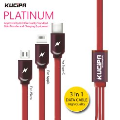 Kucipa 3 in 1 Platinum Data Transfer and Charging Flat Cable - Red