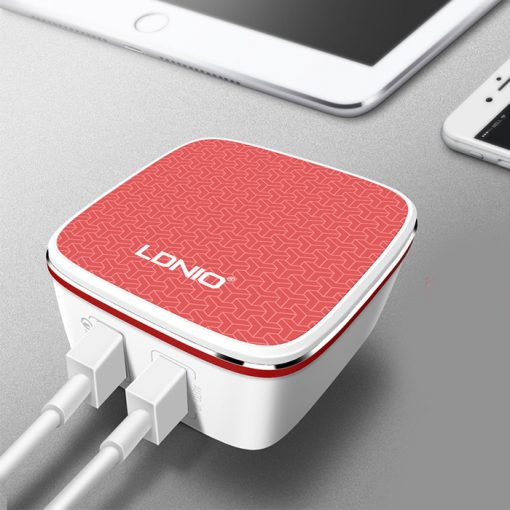 LDNIO A2405Q  Qualcomm Quick Charge 2.0 Dual USB Charger - Red