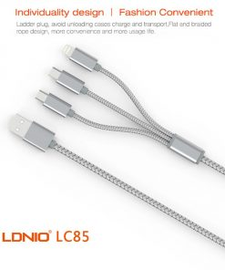 LDNIO 3 in 1 Micro and Lightning Cable - Silver