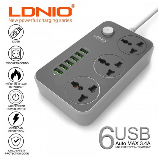 LDNIO SC3604 2500W 10A 1.6 Meter  3 220v Universal Outlet With 6 USB Charging Port - Black