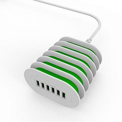 LDNIO USB Auto-ID Compatible Charger 6-Port Desktop Charger - Green