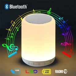 Bluetooth Speaker Led Lamp with FM Radio And Micro SD Card Slot To Play Mp3 - White