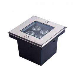4w 10 x 10 cm Waterproof LED Floor Mounted Yellow Light - Black/Silver
