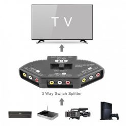 Optimus 3 Input Channels AV Expansion Switch Box  - Black