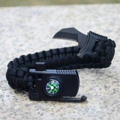 5 in 1 Parachute Cord Bracelet Flint Whistle Compass Scraper  - Black