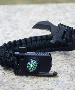 5 in 1 Parachute Cord Bracelet Flint Whistle Compass Scraper  - Black