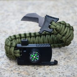 5 in 1 Parachute Cord Bracelet Flint Whistle Compass Scraper - Green