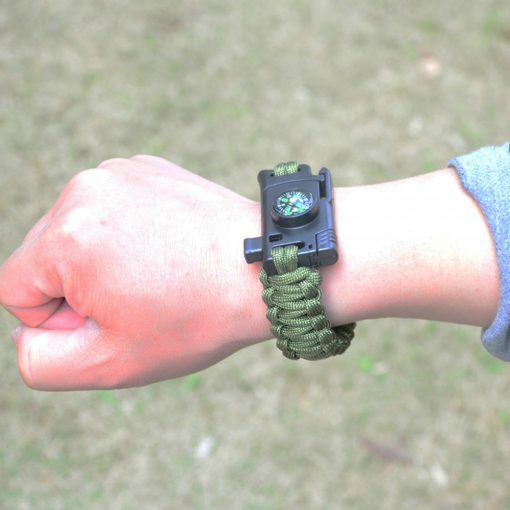 5 in 1 Parachute Cord Bracelet Flint Whistle Compass Scraper - Green