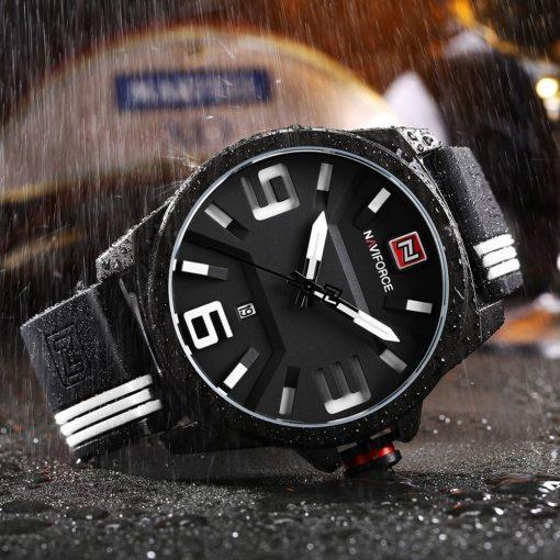 Naviforce 9098 3ATM Water Resistant Analog Watch - Black