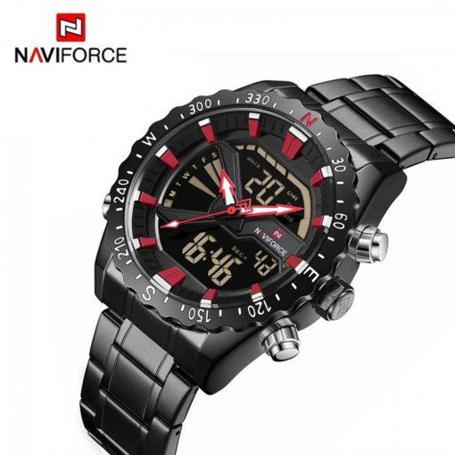 Naviforce 9136S Chronograph Military Dual Display Watch - Black