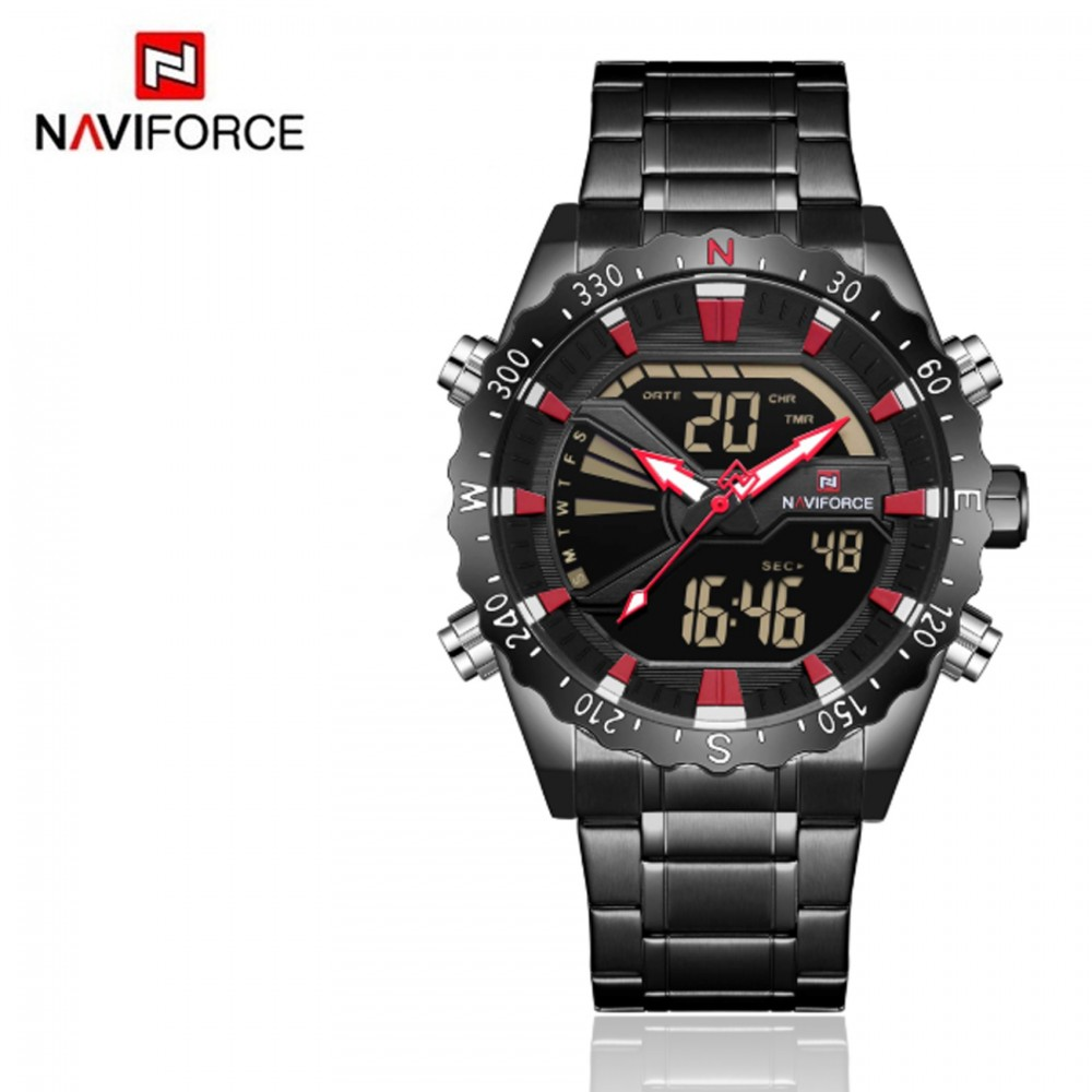 Naviforce 9136S Chronograph Military Dual Display Watch - Black