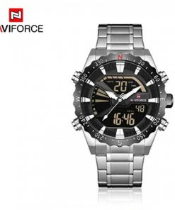 Naviforce 9136S Chronograph Military Dual Display Watch - Silver