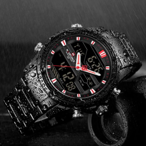 Naviforce 9138 Water Resistant Quartz Dual Display Watch - Black