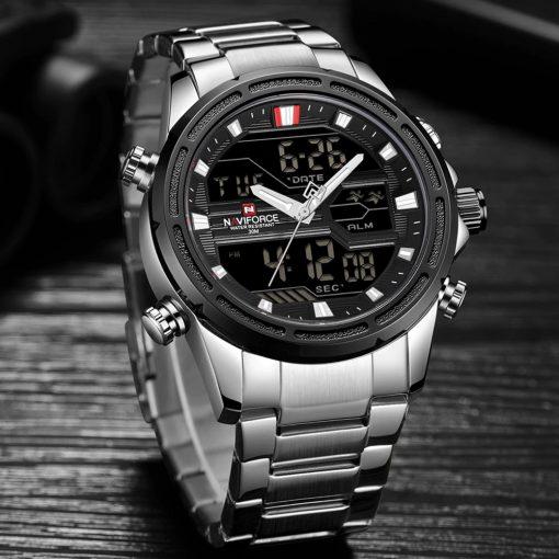 Naviforce 9138 Water Resistant Quartz Dual Display Watch - Silver
