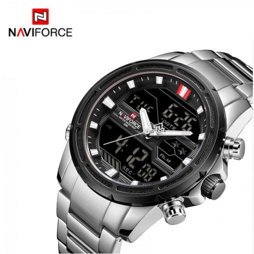 Naviforce 9138 Water Resistant Quartz Dual Display Watch - Silver