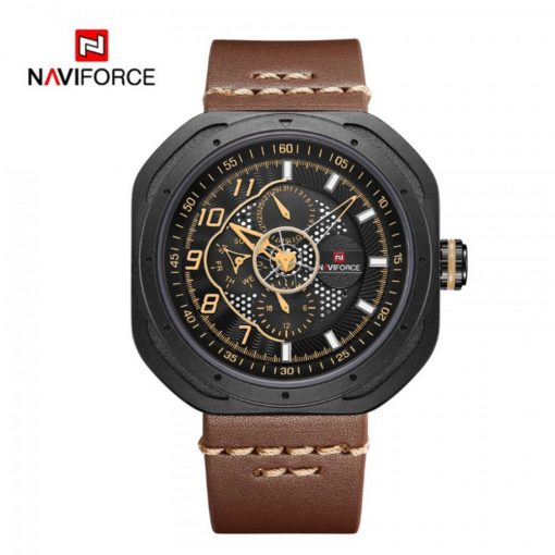 Naviforce 9141 Military Leather 3Bar Waterproof Watch - Brown