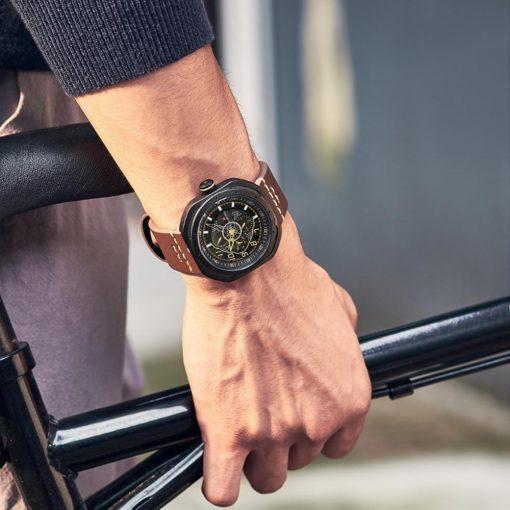 Naviforce 9141 Military Leather 3Bar Waterproof Watch - Brown
