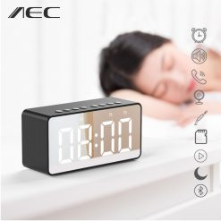 Multifunction Bluetooth Alarm Led Clock Speaker Mirror - Black