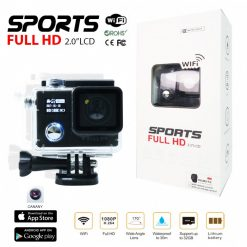 "F88 12mp Double Screen 2"" LED Screen Full HD 1080p  Sports  Camera - Black"