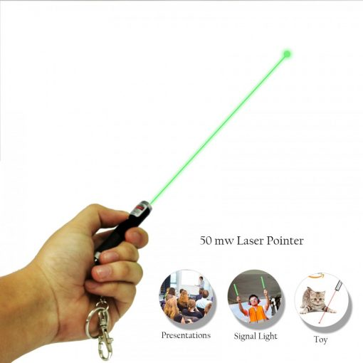 50mw Mini Green Laser Pointer Pen with Keychain - Black