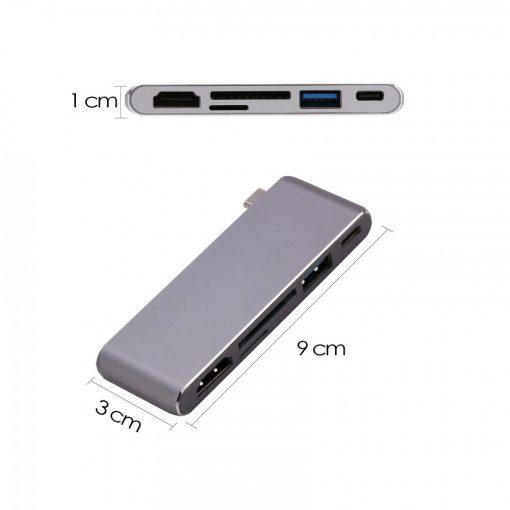 5 in 1 Type-C 4K HD Card Reader - Gray