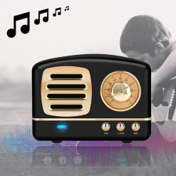 Multifunction Retro Design Bluetooth Speaker - Black
