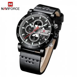 Naviforce 9131 Analog Sports Leather Quartz Watch - Black
