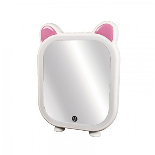 Rechargeable LED Makeup Mirror With Bluetooth Speaker - Pink