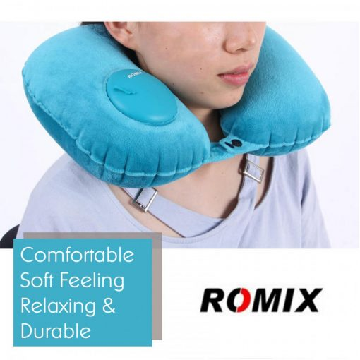 Romix RH50 Portable fury Travel Neck Pillow - Dark Blue