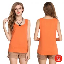 Liva Girl Casual Candy Sleeveless Blouse Medium - Orange