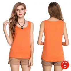 Liva Girl Casual Candy Sleeveless Blouse Small - Orange