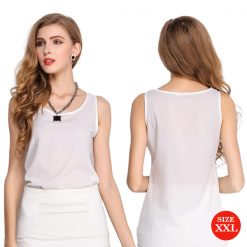 Liva Girl Casual Candy Sleeveless Blouse XXL - White