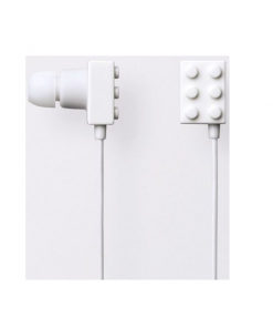 Block Type Earbuds Sundries Play Brick Headphones- White