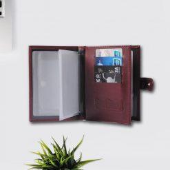 2 in 1 Passport and Card Organizer Wallet Purse - Maroon
