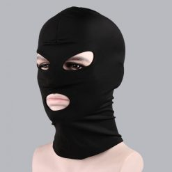 3 Holes Face Cover Spandex Hood Mask Costume - Black
