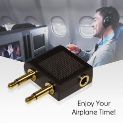 3.5 MM Airplane Audio Adapter - Black