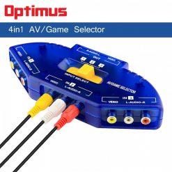 Optimus 3 Input 1 Output AV Audio-Video Signal Switcher - Blue