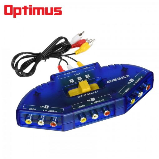 Optimus 3 Input 1 Output AV Audio-Video Signal Switcher - Blue