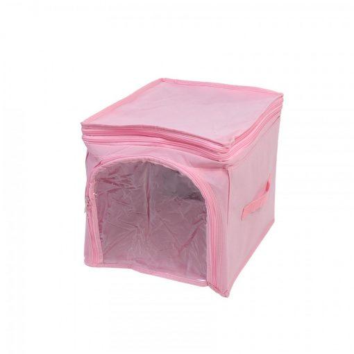 Foldable Fabric Clothes Storage Box Organizer - Pink