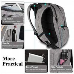 DTBG  8257 Waterproof Backpack With USB Charging Port - Grey