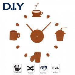 Breakfast DIY Wall Sticker Clock - Brown