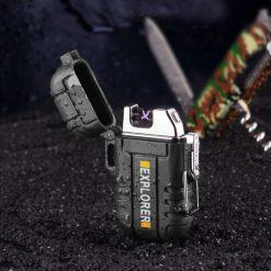 Dual Arc Rechargeable Electric Cigarette USB Lighter - Black