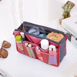 Portable Double Zipper Insert Handbag Organizer - Pink