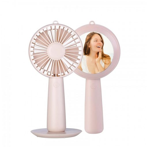 Rechargeable Handy Fan With Mirror- Pink